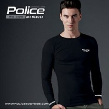 POLICE B.353 BIGSIZE BLACK LARGE PRINTED LONG SLEEVE T-SHIRT