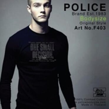 POLICE F.403 FREESIZE BLACK MEDIUM PRINTED LONG SLEEVE T-SHIRT