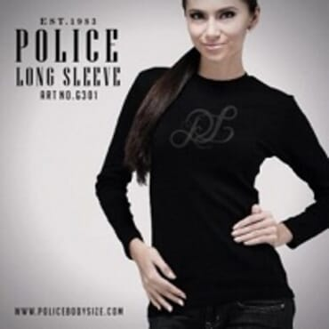 POLICE G.301 BODYGIRL BLACK/WHITE/GREY MEDIUM PRINTED LONG SLEEVE T-SHIRT