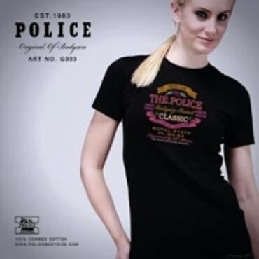 POLICE G.303 BODYGIRL BLACK/WHITE/GREY MEDIUM PRINTED SHORT SLEEVE T-SHIRT