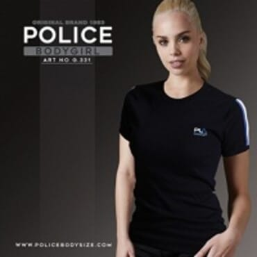 POLICE G.331 BODYGIRL BLACK/WHITE/GREY MEDIUM PRINTED SHORT SLEEVE T-SHIRT