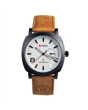 Curren Fashion 8 Chronograph Leather Quartz Watch - White Dial