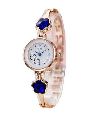 JW Ladies Wrist Watch with Royal Blue Studs - Rose Gold