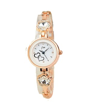 JW Classic Rosegold Watch with White Studs