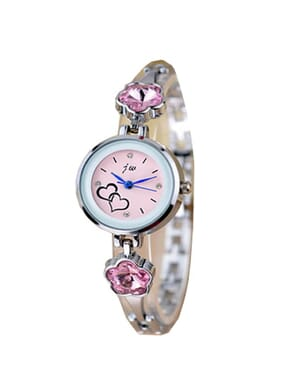 JW Classic Silver Watch with Pink Studs