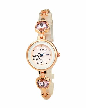 JW Women's Pink Stud Wrist Watch - RoseGold