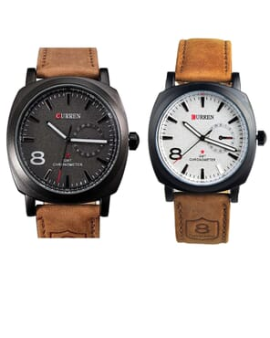 Curren Couples' Leather Watch - Brown