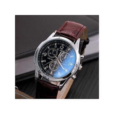 FHD Blu-ray Glass Men's Watch -Brown Leather