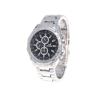 ORLANDO Classic Men's Black Dial Watch- Silver