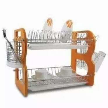 2-Layer Wooden Plate Rack - 18