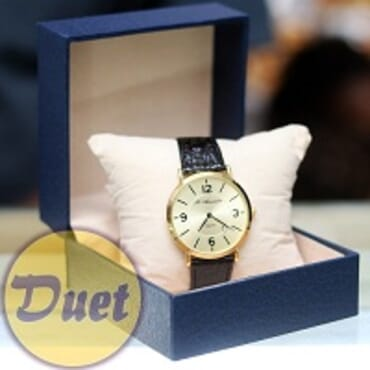 St ALEXANDER GOLD FACE BLACK LEATHER WATCH
