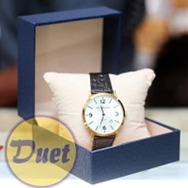 St ALEXANDER WHITE FACE BLACK LEATHER WATCH