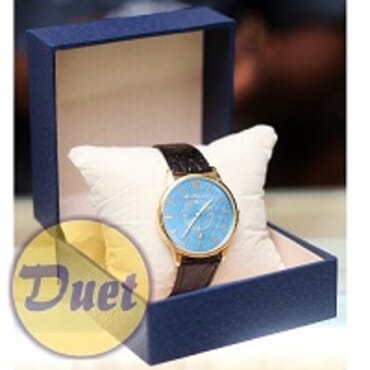 St ALEXANDER BLUE FACE BLACK LEATHER WATCH