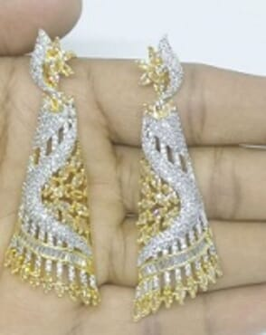 003 GOLD/SILVER LUXURY STONE EARRING