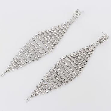 001 SILVER CRYSTAL DROP EARRING