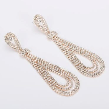 006 GOLD CRYSTAL DROP EARRING