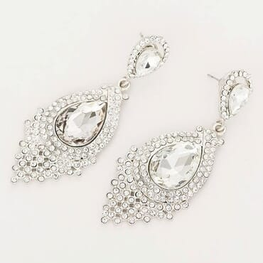 007 SILVER CRYSTAL DROP EARRING
