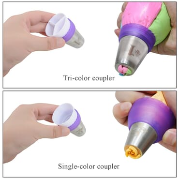 Three-Color Coupler Nozzles For Cake Decorating