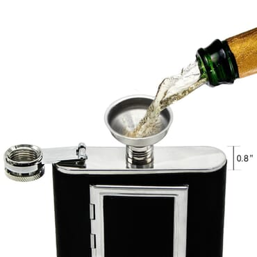 Leather Liquor Hip Flask with Built-in Cigarette Case + Free Funnel