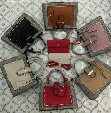 Two-Tone Leather Handbag with Purse - Multicolour