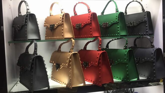 Faux Stud Tote Leather Bag - Multicolour