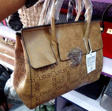 Patterned Leather Handbag - Brown