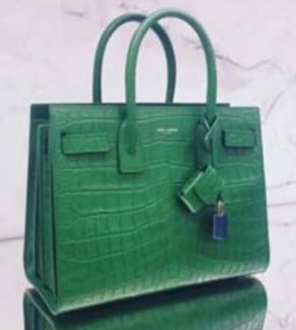 The Lock Patterned Leather Handbag - Green