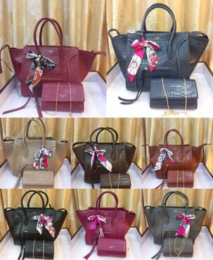 2-in-1 Leather Handbag - Multicolour