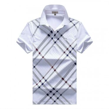 Men's Burberry Polo T-shirt With Stripes - White