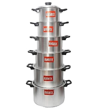 Galaxy Premium Aluminium Pots Set - 6 Pieces - Silver