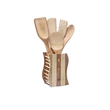 Old British Bamboo Kitchen Utensil Set