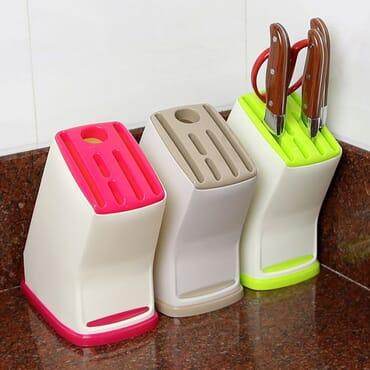 Kitchen Plastic Multi-function Knife Storage Rack Block Holder