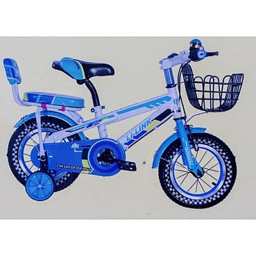 Rugged/Strong Back Seat Children Blue Bicycle (12 Inches 3-7yrs)