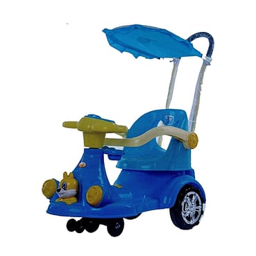 Full Music/Light Baby Car / Rocker With Umbrella And Pusher Handle (Blue Color)