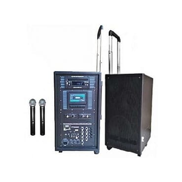 Portable Trolley PA Speaker With DVD Player, USB & Cassette Player & Dual Wireless Mics