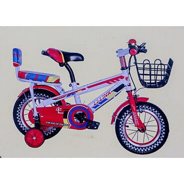 Rugged/Strong Back Seat Children Red Bicycle (12 Inches 3-7yrs)
