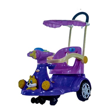Full Music/Light Baby Car / Rocker With Umbrella And Pusher Handle (Purple Color)