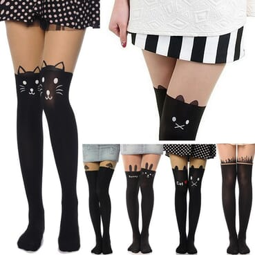 Cat Tattoo Socks/Sheer Pantyhose Mock Stockings