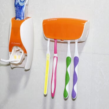 Automatic Toothpaste Dispenser Squeezing Device & Toothbrush Holder (Multi color)