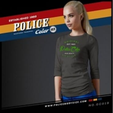 POLICE GC.019 BODYGIRL GREY PRINTED LONG SLEEVE T-SHIRT