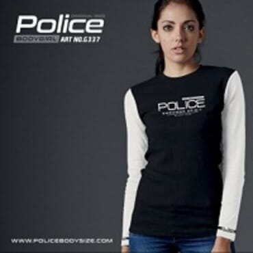 POLICE G.337 BODYGIRL BLACK PRINTED LONG SLEEVE T- SHIRT