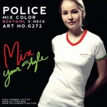POLICE BODYGIRL WHITE PRINTED SHORT SLEEVE T-SHIRT G.272