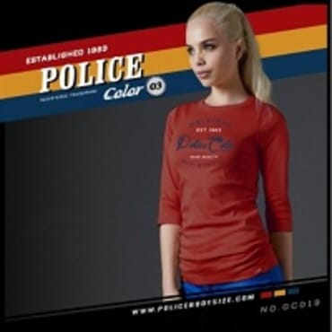 POLICE GC.019 BODYGIRL RED PRINTED LONG SLEEVE T-SHIRT