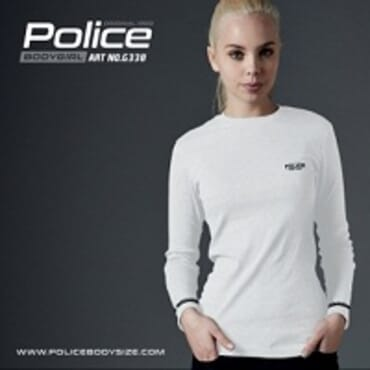 POLICE G.338 BODYGIRL WHITE PRINTED LONG SLEEVE T- SHIRT