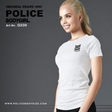 POLICE BODYGIRL WHITE PRINTED SHORT SLEEVE T-SHIRT G.339