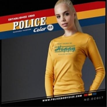 POLICE GC.017 BODYGIRL YELLOW PRINTED LONG SLEEVE T-SHIRT
