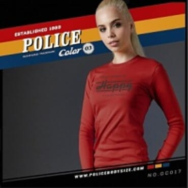 POLICE GC.017 BODYGIRL RED PRINTED LONG SLEEVE T-SHIRT