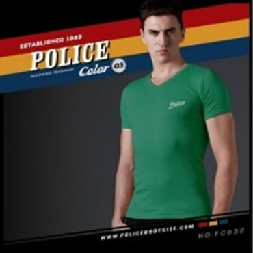 POLICE FREESIZE GREEN PRINTED SHORT SLEVEE T- SHIRT FC.032