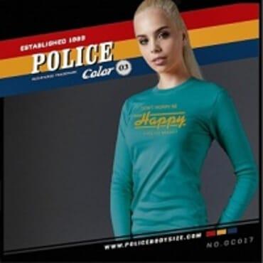POLICE GC.017 BODYGIRL LITE BLUE PRINTED LONG SLEEVE T-SHIRT