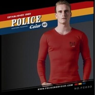 POLICE FC.033 FREESIZE RED PRINTED LONG SLEEVE T-SHIRT